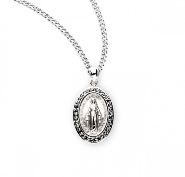 Women's Oval Cubic Zirconia Studded Miraculous Medal - Black