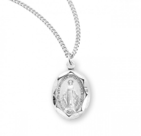 Women's Oval Miraculous Pendant with Scalloped Edges - Sterling Silver