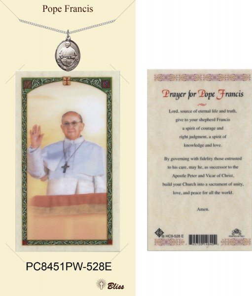Women's Oval Pope Francis Pewter Pendant w. Prayer Card - Pewter