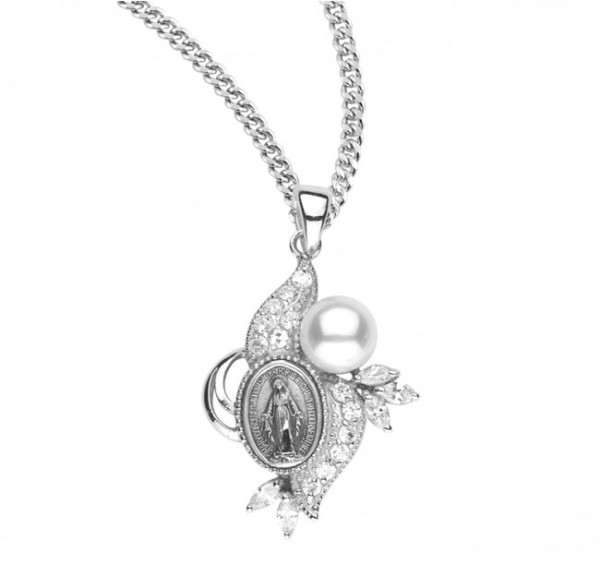 Women's Pearl and Cubic Zirconia Miraculous Medal - Sterling Silver