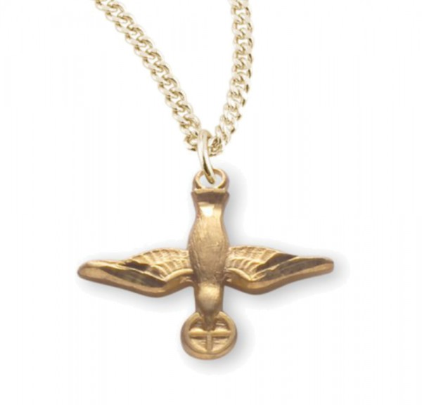 Women's Descending Dove and Host Necklace - Gold Plated