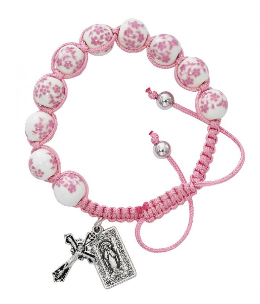 Women's Pink Flower Ceramic Beads with Miraculous Charm & Cross Bracelet - Pink