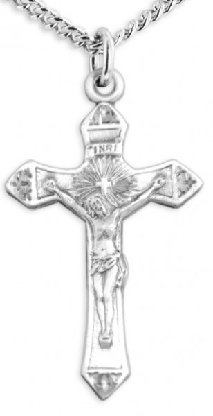 Women's Pointed Edge Crucifix Pendant - Sterling Silver