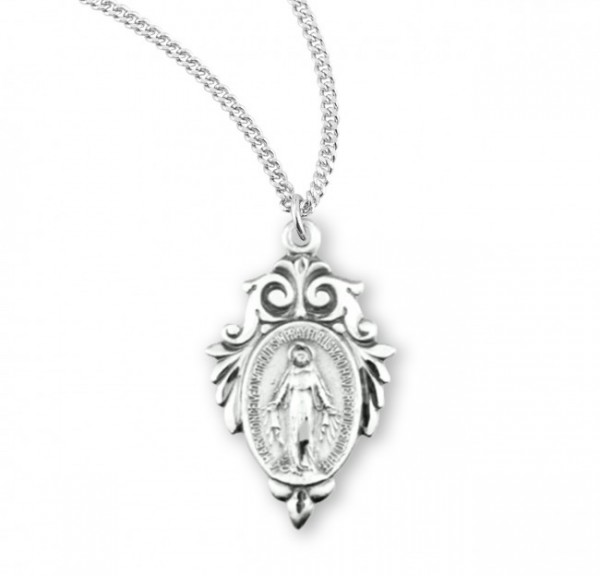 Women's Pointed Tip Fleur de Lis Miraculous Medal - Sterling Silver