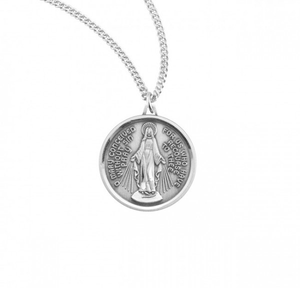 Women's Round Modern Miraculous Medal - Sterling Silver