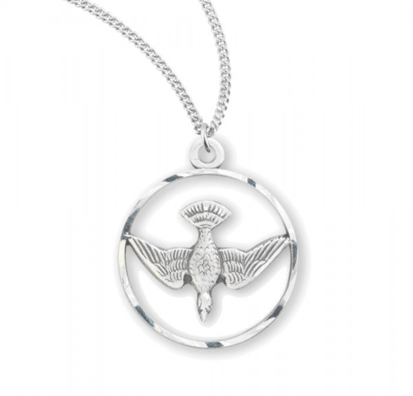 Women's Round Open Cut Dove Necklace - Sterling Silver
