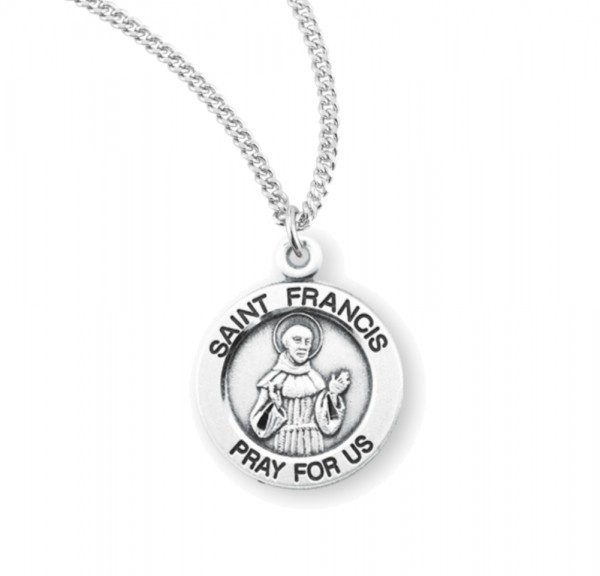 Women's Round Saint Francis of Assisi Necklace - Sterling Silver