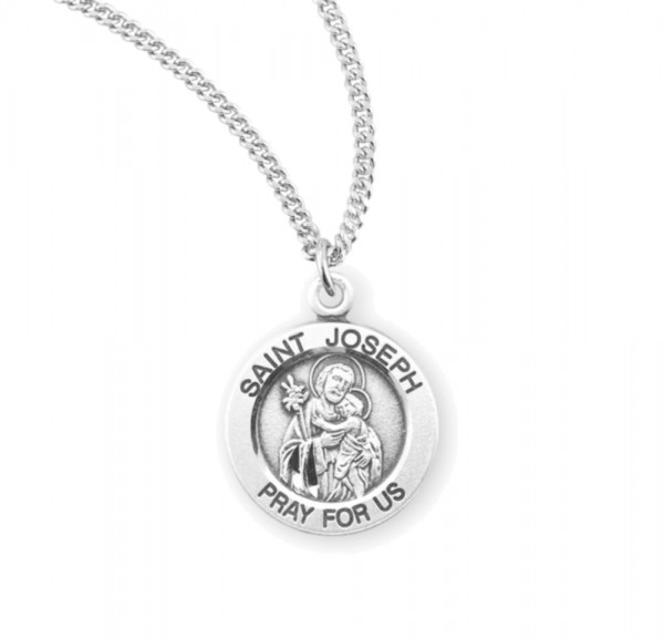 Women's Round Saint Joseph Necklace - Sterling Silver