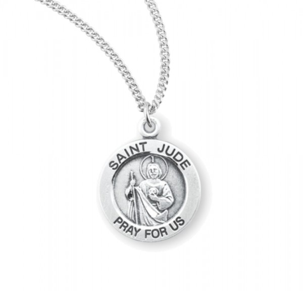 Women's Round Saint Jude Necklace - Sterling Silver