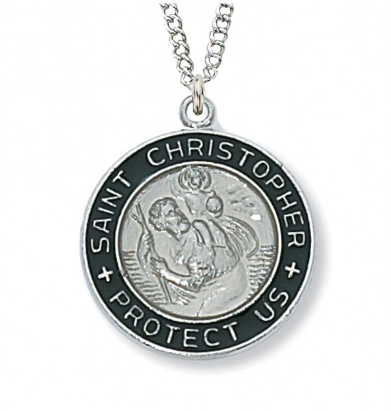 9d5c5596bf5 Women's Round Silver with Black St. Christopher Medal - Black | Silver