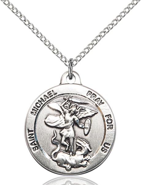 Women's Round St. Michael the Archangel Medal - Sterling Silver