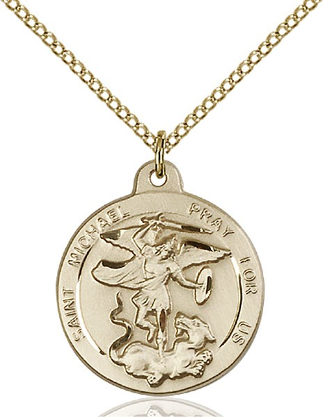 Women's Round St. Michael the Archangel Medal - Gold Filled