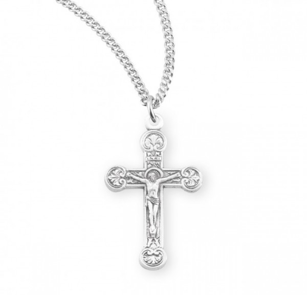 Women's Rounded Floral Tip Crucifix Necklace - Sterling Silver