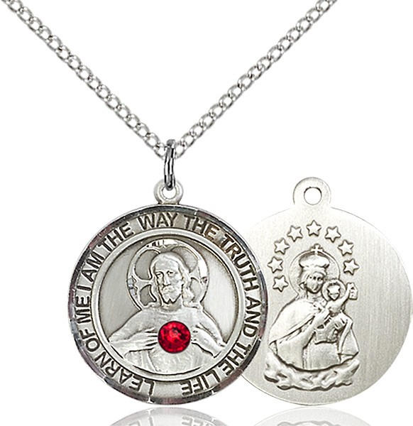 Women's Sacred Heart Round Pendant - Sterling Silver