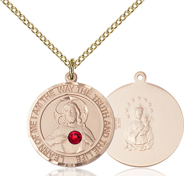 Women's Sacred Heart Round Pendant - 14KT Gold Filled