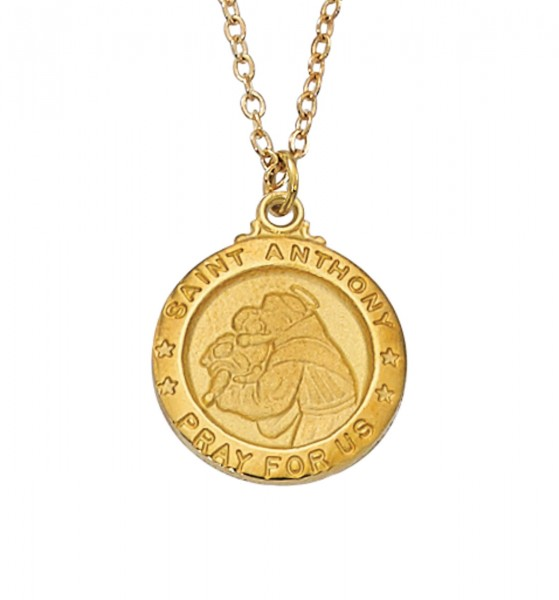 Women's Saint Anthony Medal Round Goldtone - Gold Tone