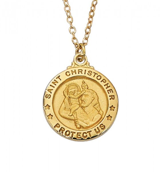 Women's Saint Christopher Medal Round Goldtone - Gold Tone