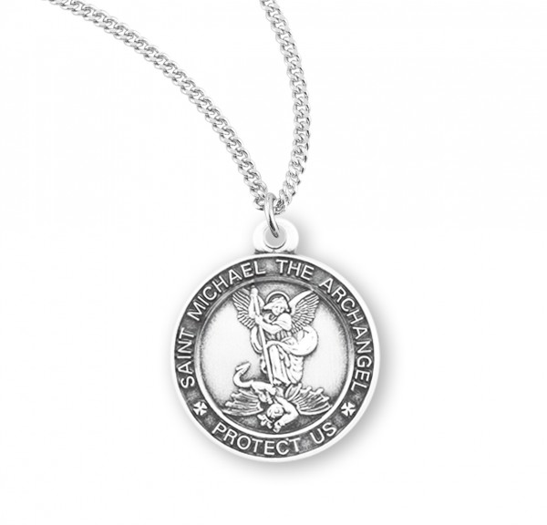 Women's Saint Michael Round Sterling Silver Medal - Sterling Silver