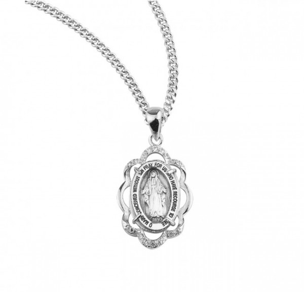 Women's Scallop Border Cubic Zirconia Miraculous Medal - Sterling Silver