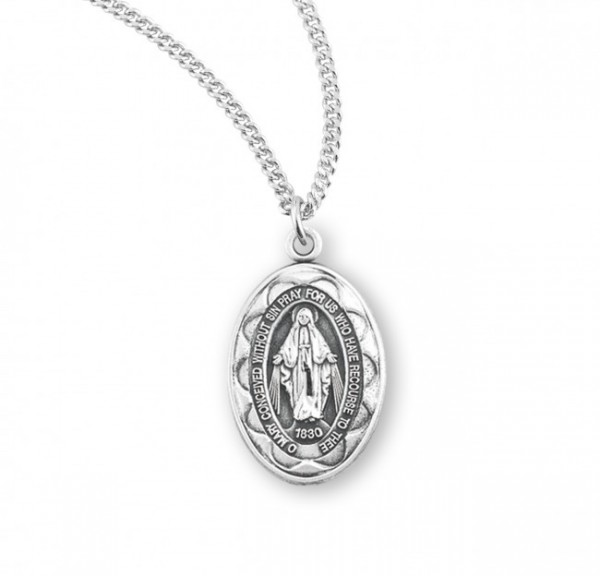 Women's Scalloped Edge Miraculous Medal Silver or Blue - Sterling Silver