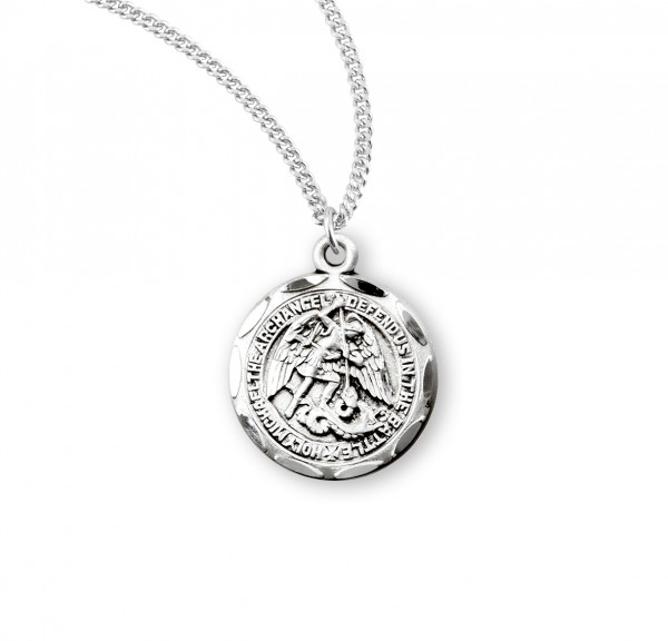 Women's Scalloped Edge Round Saint Michael Medal - Sterling Silver