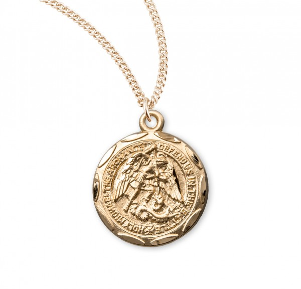Women's Scalloped Edge Round Saint Michael Medal - Gold Plated