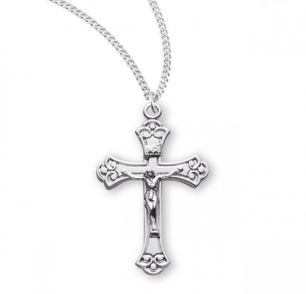 Women's Scroll Etched Crucifix Pendant Sterling Silver - Sterling Silver