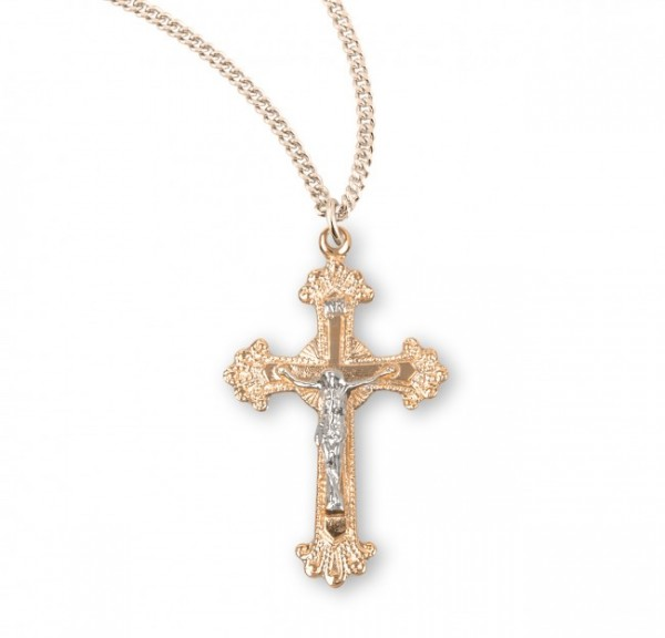 Women's Shiny Frayed Tip Crucifix Medal Two Tone - Two-Tone Gold