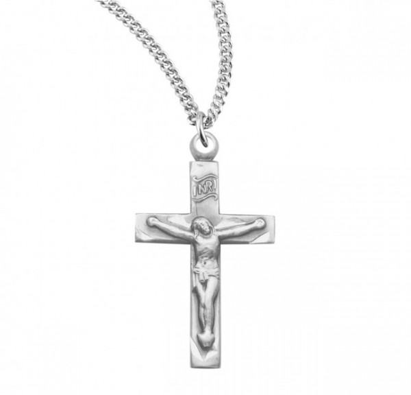 Women's Simple Edge with Etching Crucifix Necklace - Sterling Silver