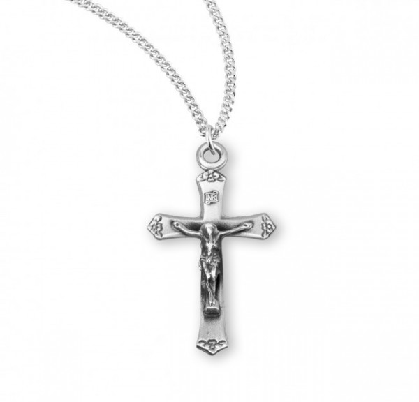 Women's Simple Flower Tip Crucifix Necklace - Sterling Silver