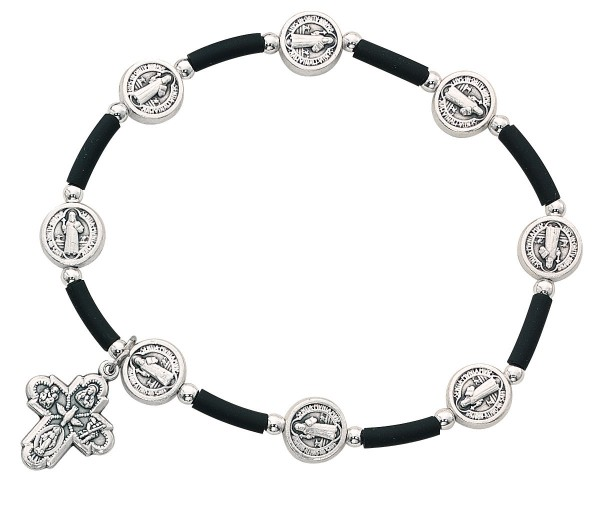 Women's St. Benedict and 4-Way Medal Stretch Bracelet - Black | Silver