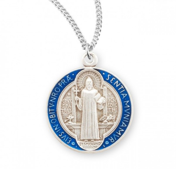 Women's St. Benedict Blue Enamel Double-Sided Necklace - Silver | Blue