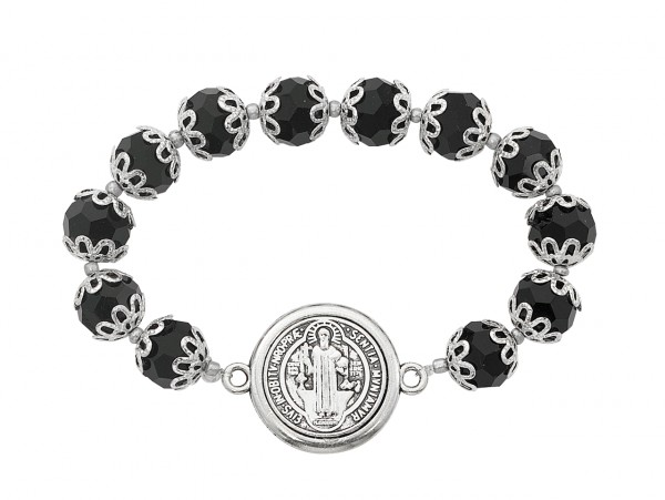 Women's St. Benedict Bracelet with Black Capped Beads - Blue