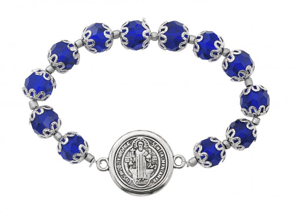 Women's St. Benedict Bracelet with Blue Capped Beads - Black | Silver