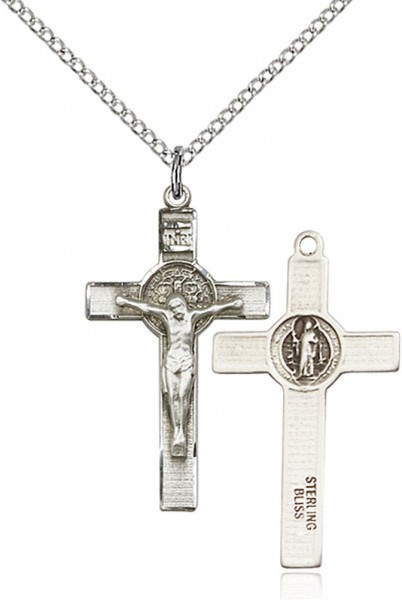 Women's St. Benedict Crucifix Pendant - Sterling Silver