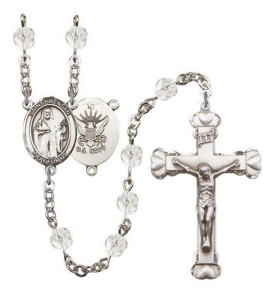 Women's St. Brendan the Navigator Navy Birthstone Rosary - Crystal