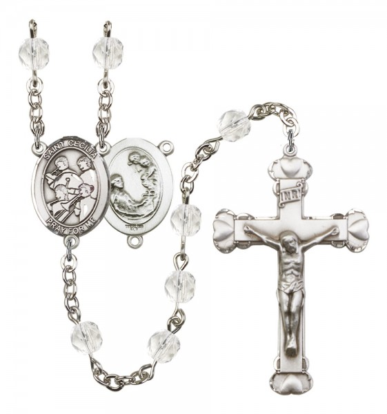 Women's St. Cecilia Marching Band Birthstone Rosary - Crystal
