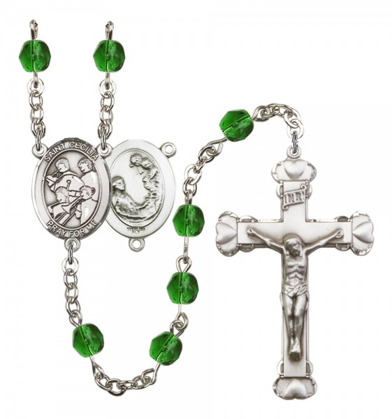 Women's St. Cecilia Marching Band Birthstone Rosary - Emerald Green