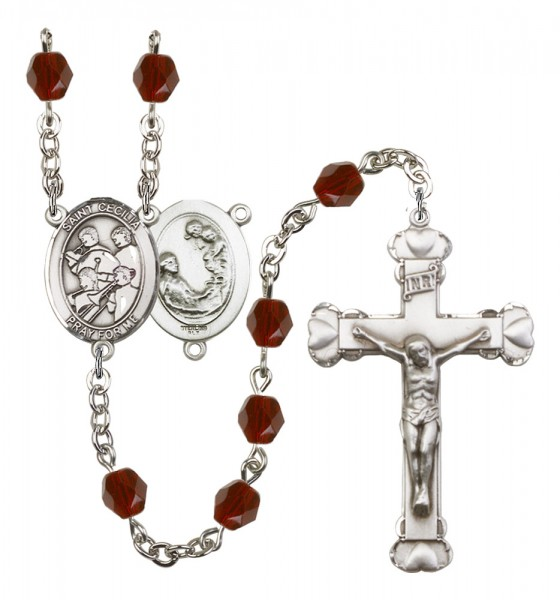 Women's St. Cecilia Marching Band Birthstone Rosary - Garnet
