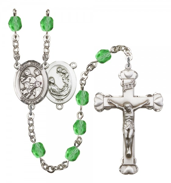 Women's St. Cecilia Marching Band Birthstone Rosary - Peridot