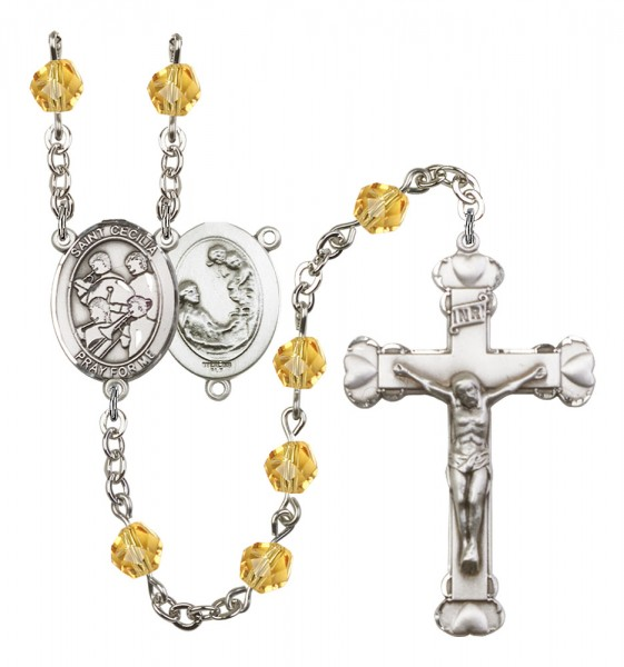 Women's St. Cecilia Marching Band Birthstone Rosary - Topaz