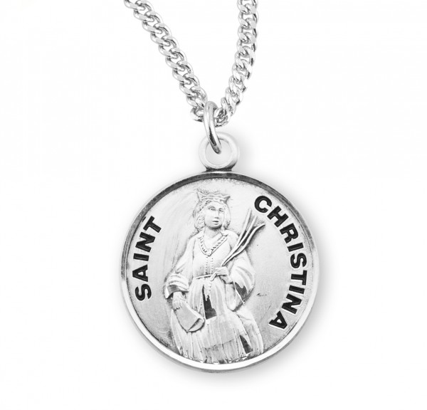 Women's St. Christina Round Medal - Sterling Silver