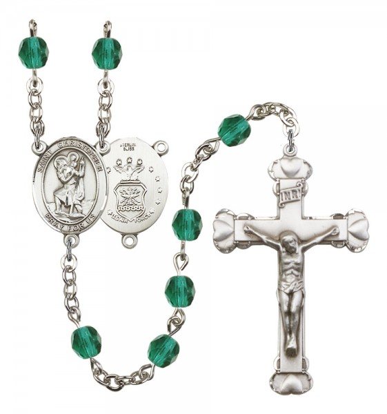 Women's St. Christopher Air Force Birthstone Rosary - Zircon