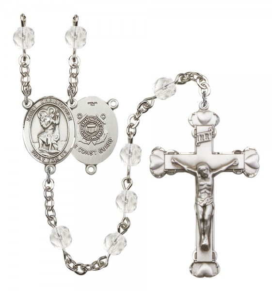 Women's St. Christopher Coast Guard Birthstone Rosary - Crystal