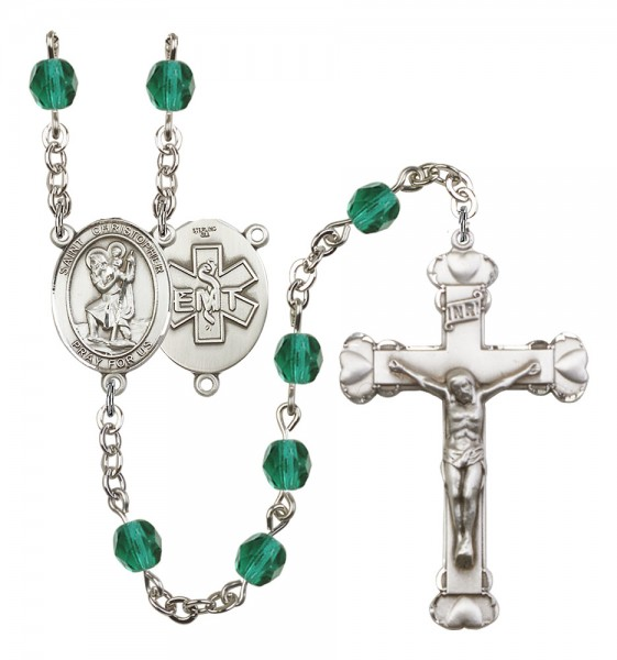 Women's St. Christopher EMT Birthstone Rosary - Zircon