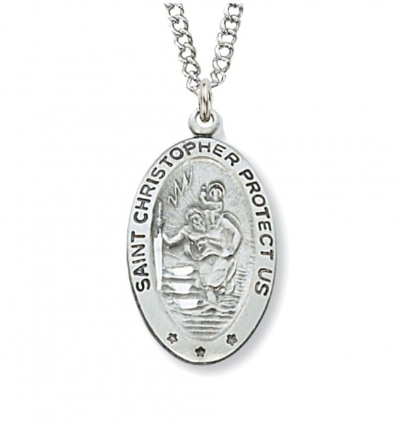 Women's St. Christopher Necklace with Stars - Silver