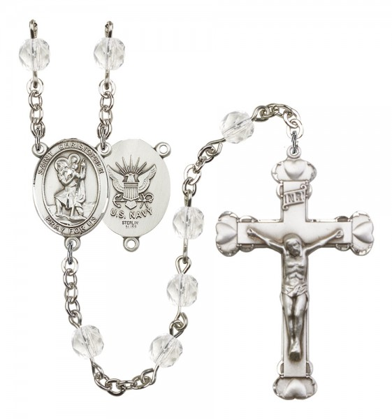 Women's St. Christopher Navy Birthstone Rosary - Crystal