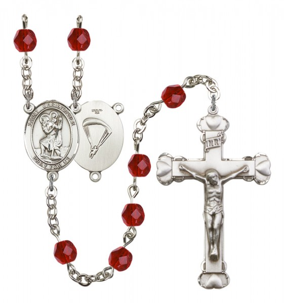 Women's St. Christopher Paratrooper Birthstone Rosary - Ruby Red