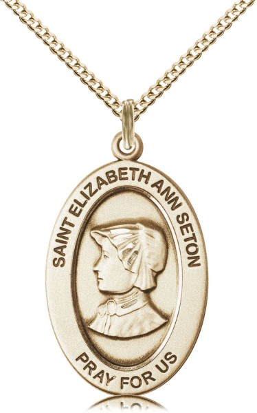 Women's St. Elizabeth Ann Seton Oval Necklace - Gold Filled