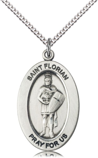 Women's St. Florian of Fire Fighters Necklace - Sterling Silver